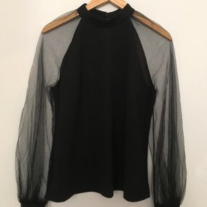 Mesh Long Sleeve Puff Solid Loose Party Blouse